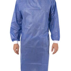 Bata Antifluidos Azul Puño Blanco